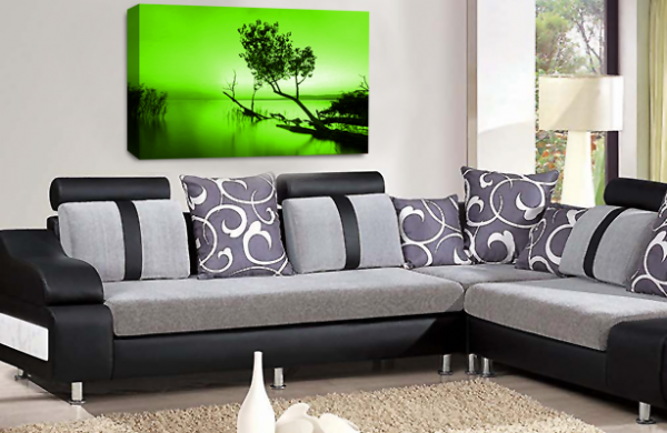 Landscape Wall Art Green White Grey Seascape Picture Print